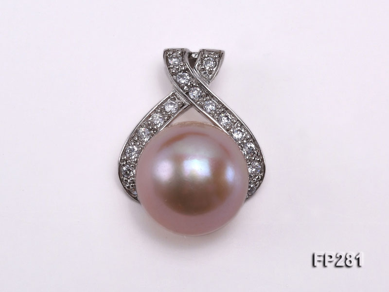 12.5mm Lavender Flat Freshwater Pearl Pendant with a Silver Pendant Bail