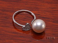 10.5mm White Round Edison Pearl Ring in Sterling Silver