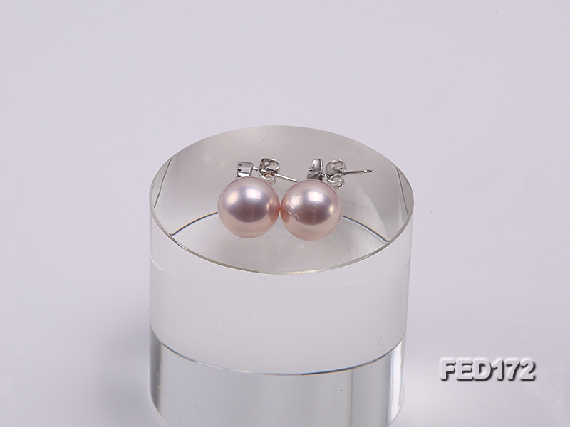 12.5mm Lavender Round Edison Pearl Dangling Earrings