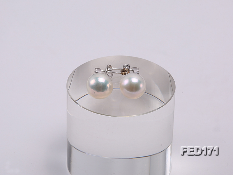 13mm White Round Edison Pearl Dangling Earrings