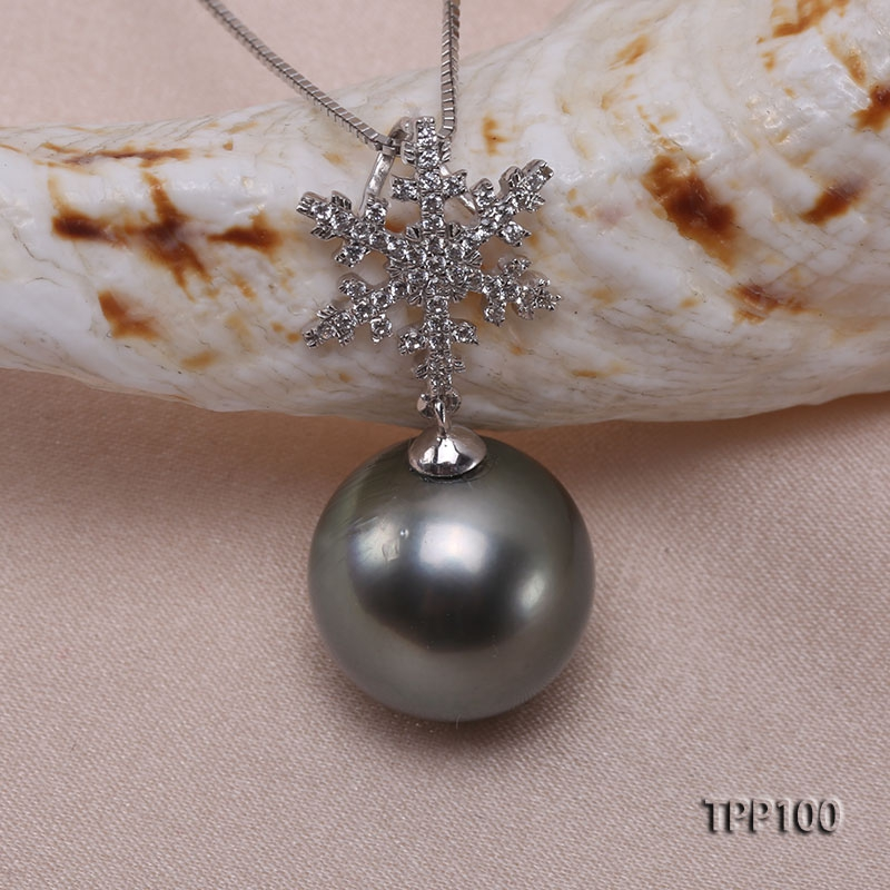 Natural 12.5mm Black Tahitian Pearl Pendant in 14k Gold