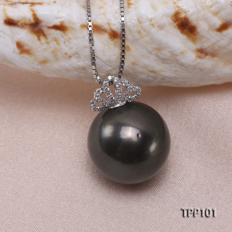 12.5mm Natural Black Tahitian Pearl Pendant in 14k Gold