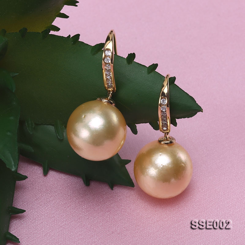 13mm Golden Round South Sea Pearl Earrings with 18k Gold and Diamond