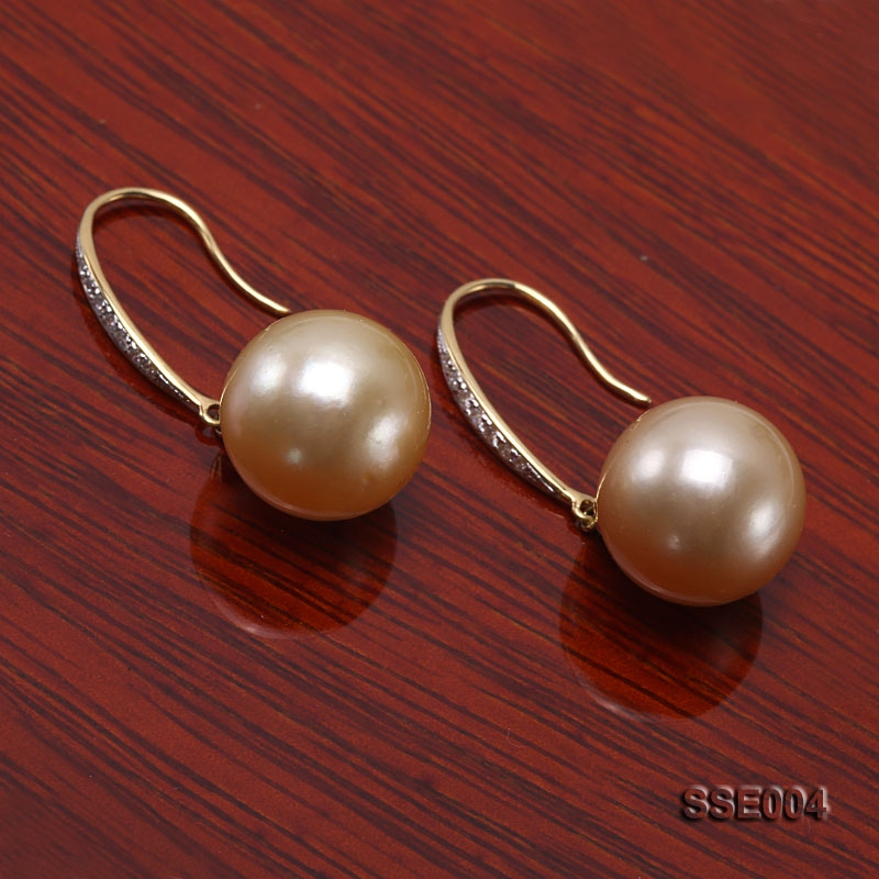 13.2mm Golden Round South Sea Pearl Earrings with 18k Gold and Diamond