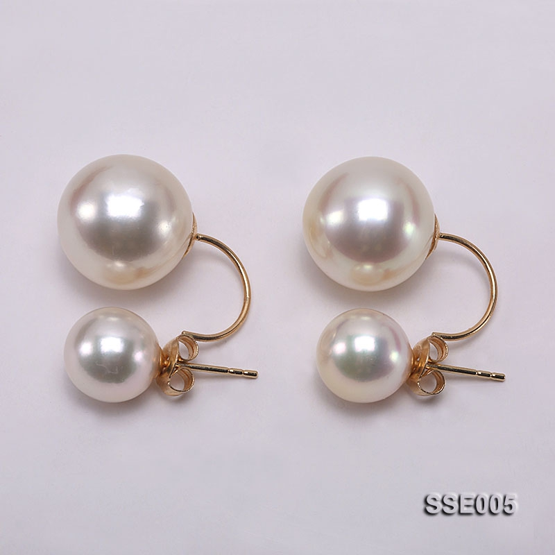 9.5-13.5mm Golden South Sea Pearl Earrings in 18K Gold