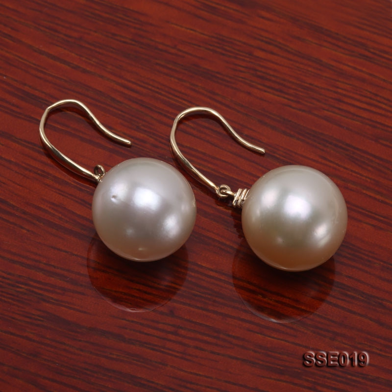 13.5mm Golden South Sea Pearl Earrings with 14k Gold Hooks