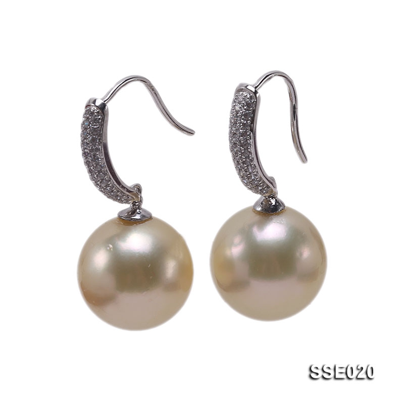 12.2mm Golden South Sea Pearl Earrings with 14k Gold Hooks