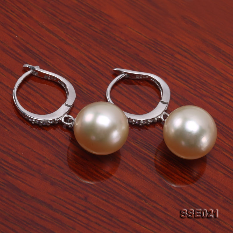 11mm Golden South Sea Pearl Earrings with Silver Hooks