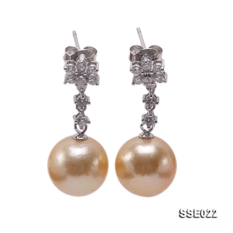 12mm Golden South Sea Pearl Earrings with Silver Hooks