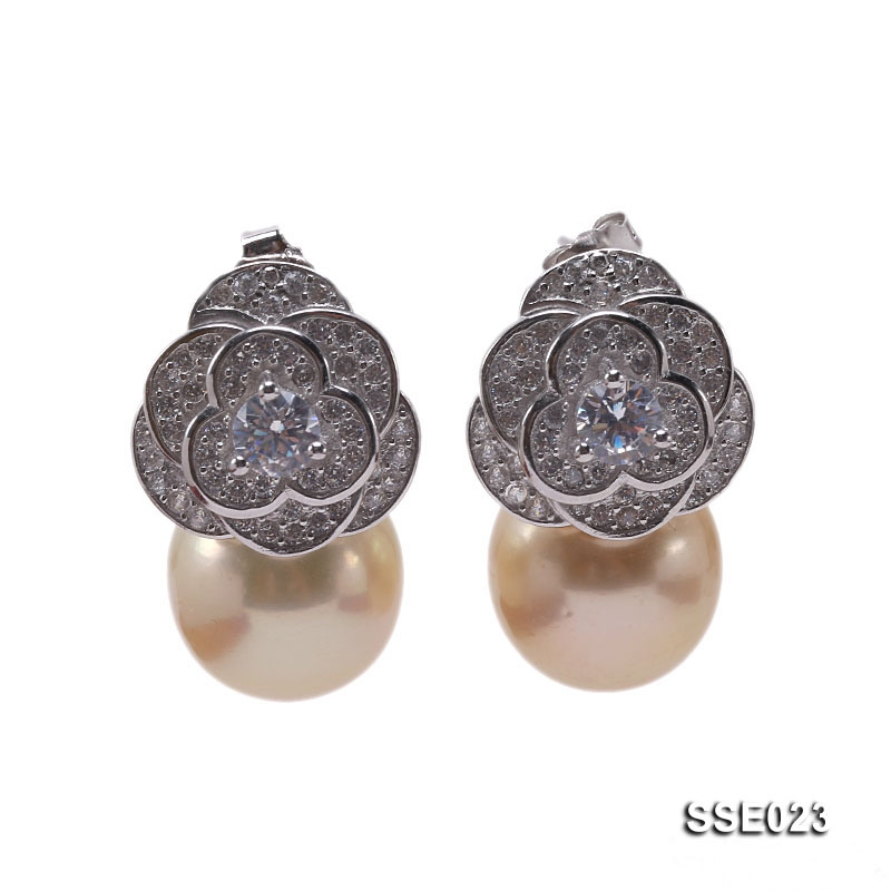 Flower-style 11.5mm Golden Round South Sea Pearl Stud Earrings