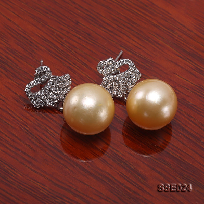 12.2mm Golden South Sea Pearl Earrings