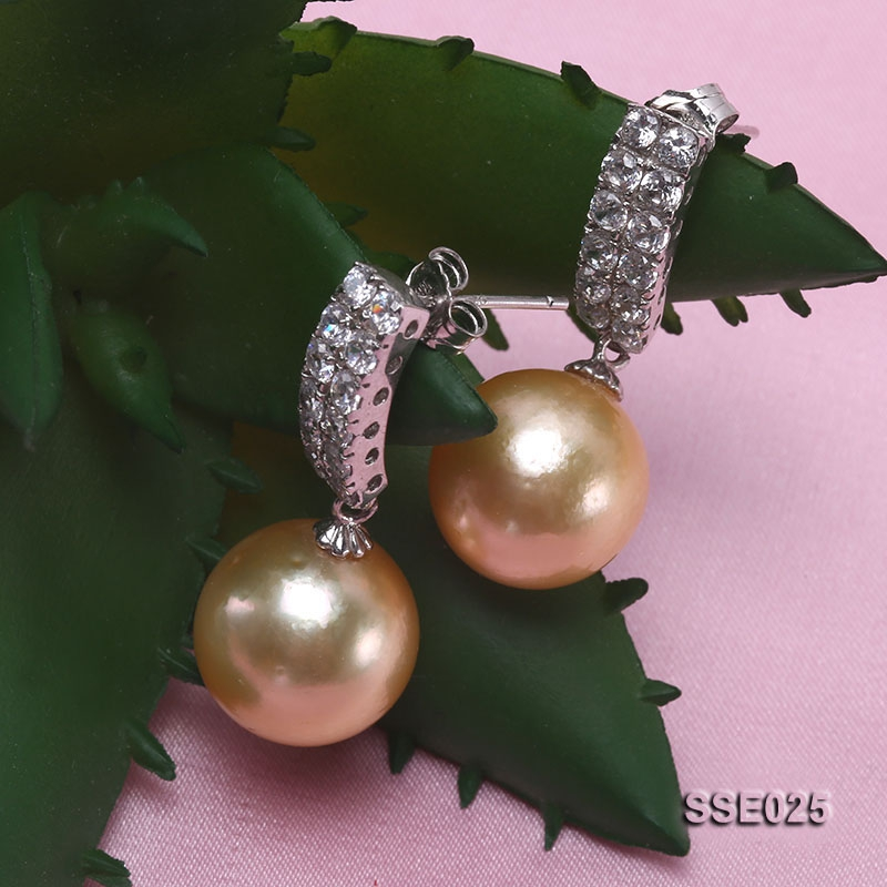 12.5mm Golden South Sea Pearl Earrings with Silver Hooks