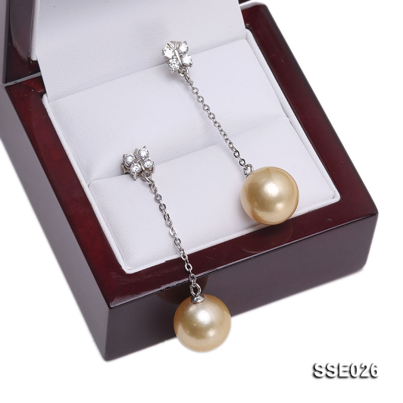 13mm Golden South Sea Pearl Earrings with Silver Hooks