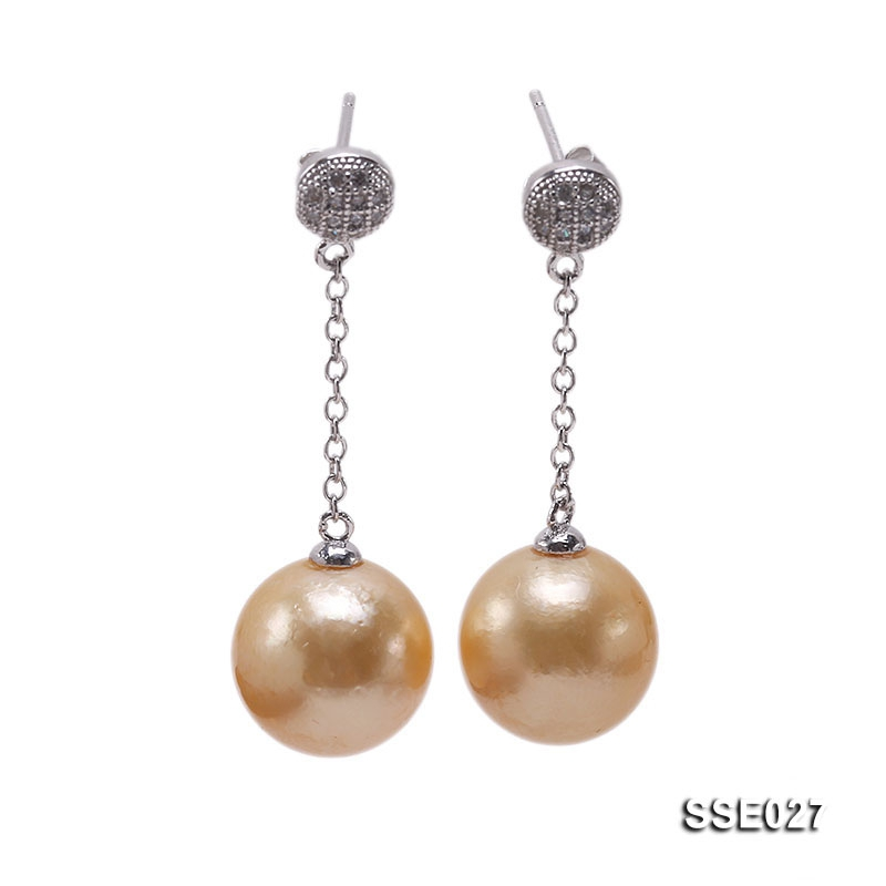 12.2mm Golden South Sea Pearl Earrings with Silver Hooks