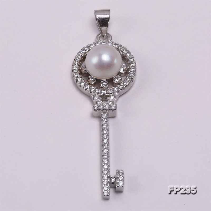 8mm White Flat Freshwater Pearl Pendant in Sterling Silver