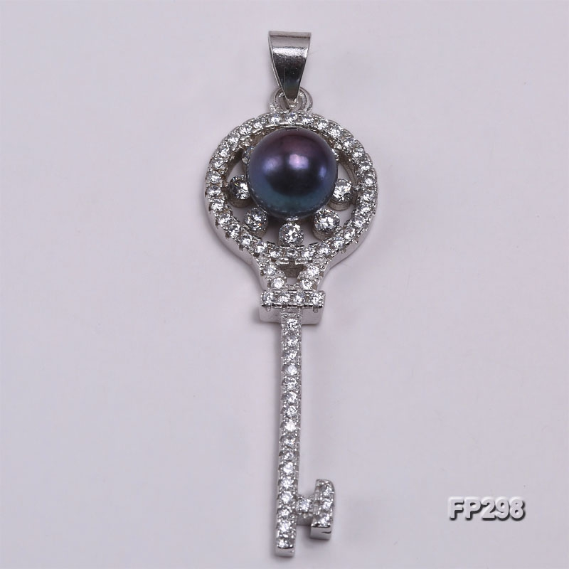 7.5mm Black Flat Freshwater Pearl Pendant in Sterling Silver