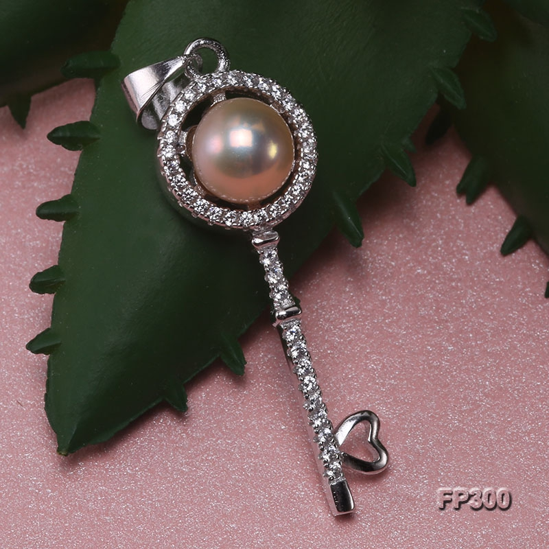 7mm Pink Flat Freshwater Pearl Pendant in Sterling Silver