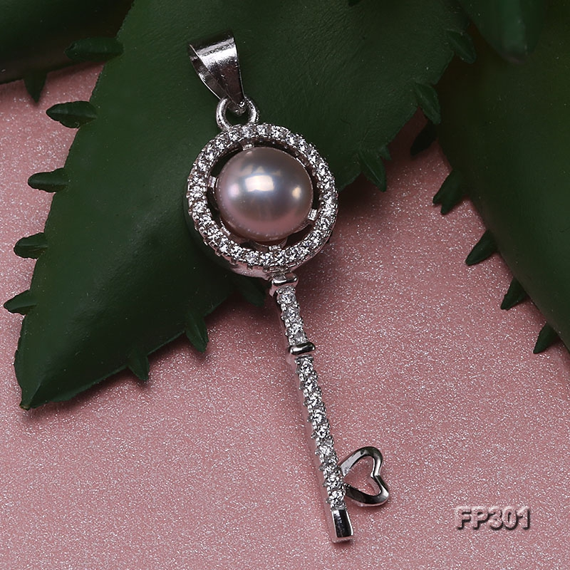 7mm Lavender Flat Freshwater Pearl Pendant in Sterling Silver
