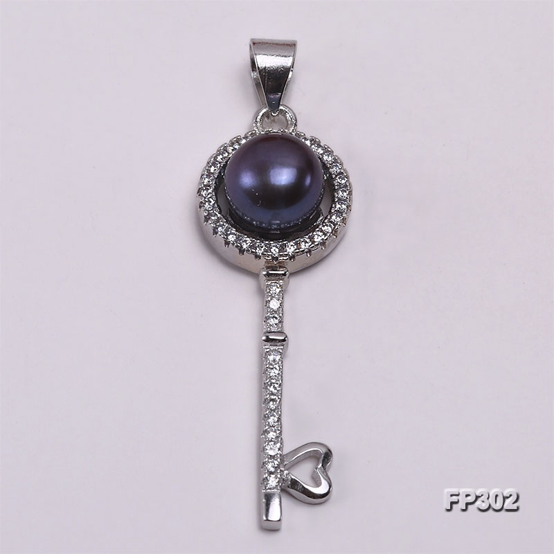 7mm Black Flat Freshwater Pearl Pendant in Sterling Silver
