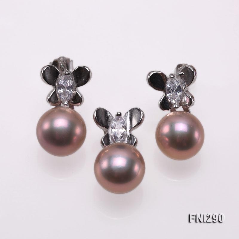 10mm Lavender Freshwater Pearl Pendant and Earrings Set