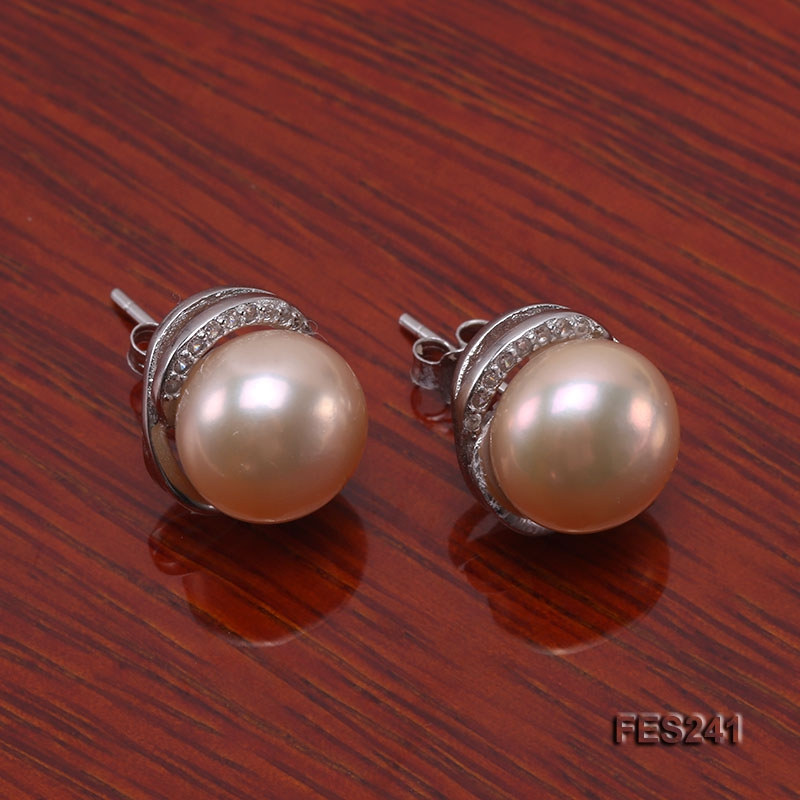 10mm Pink Flat Freshwater Pearl Earrings
