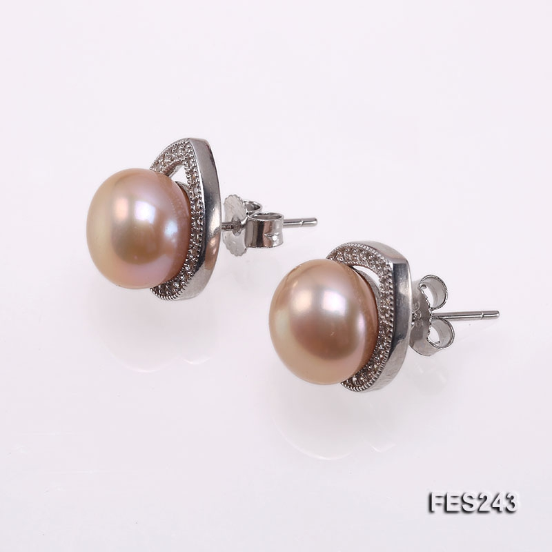 9.5mm Pink Flat Freshwater Pearl Earrings