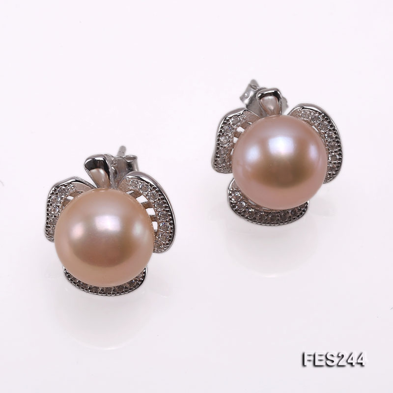 9.5mm Pink Flat Freshwater Pearl Earrings