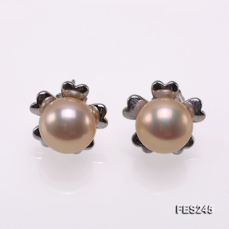 10mm Pink Flat Freshwater Pearl Earrings