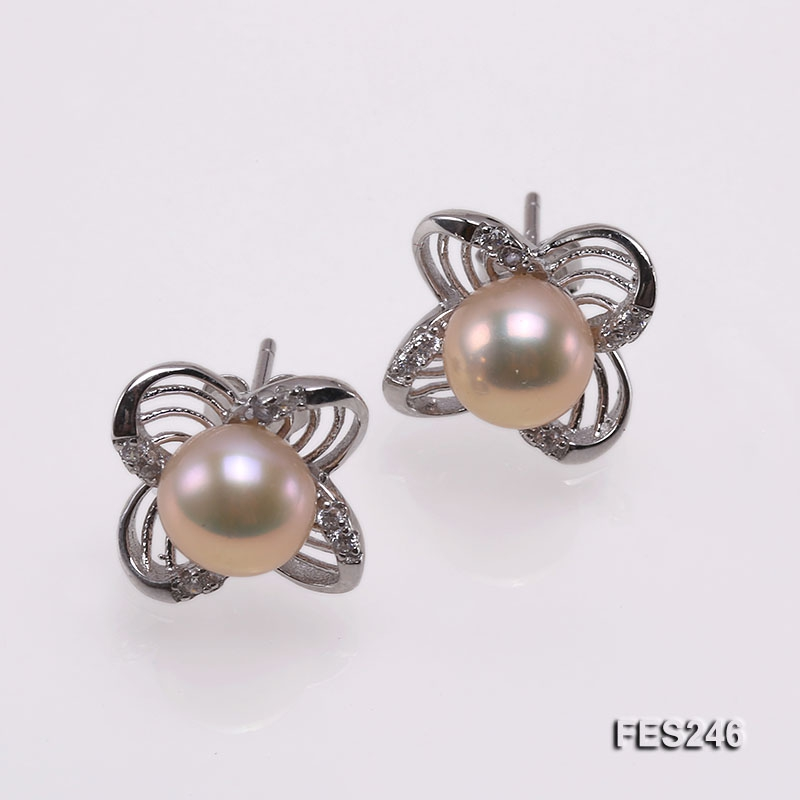 7mm Pink Flat Freshwater Pearl Earrings