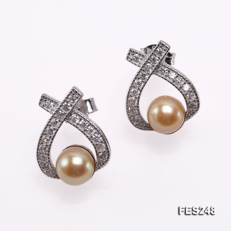 6.5mm Golden Flat Freshwater Pearl Earrings