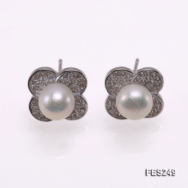7mm White Flat Freshwater Pearl Earrings