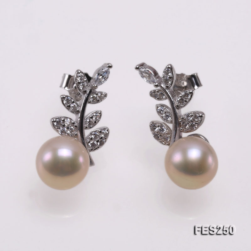 7mm Pink Flatly Round Freshwater Pearl Earrings