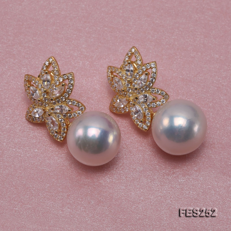 13mm White Round Freshwater Pearl Earrings