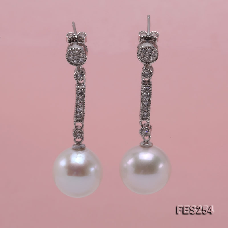 12.5mm White Round Freshwater Pearl Earrings