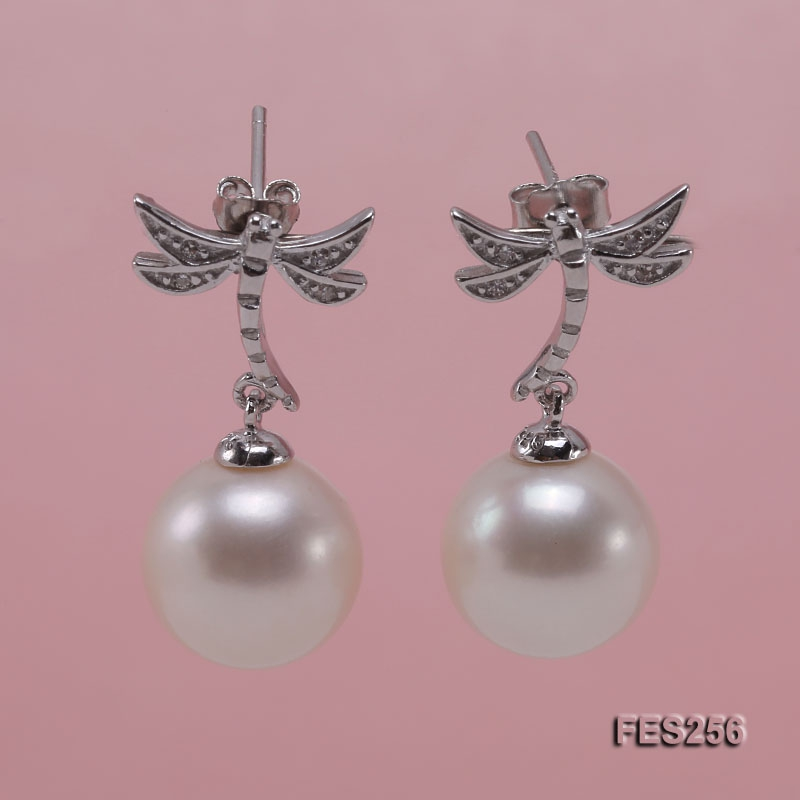 10.5mm White Round Freshwater Pearl Earrings