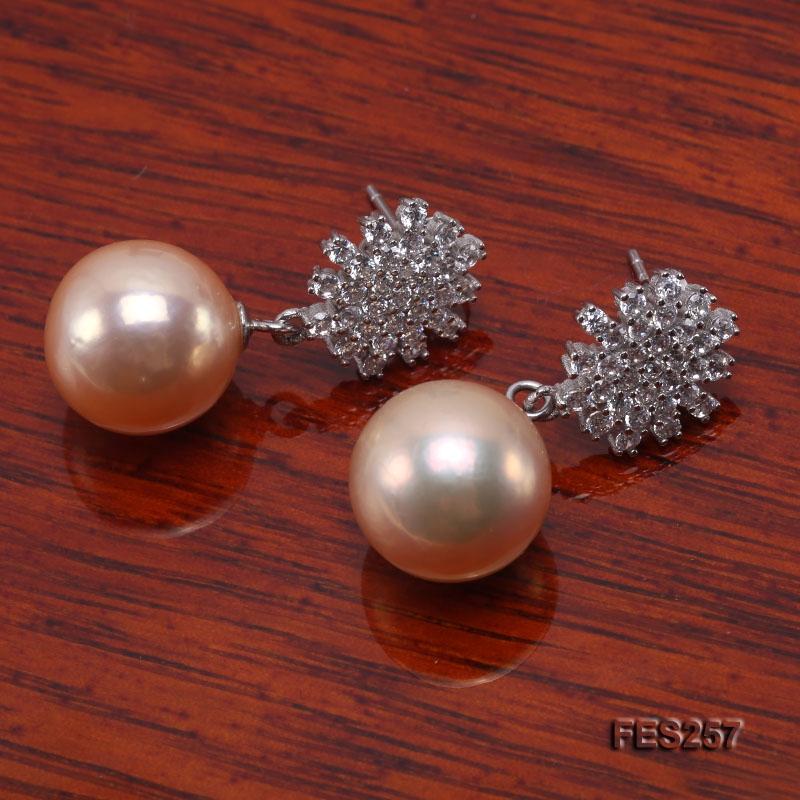 12mm Pink Round Freshwater Pearl Earrings