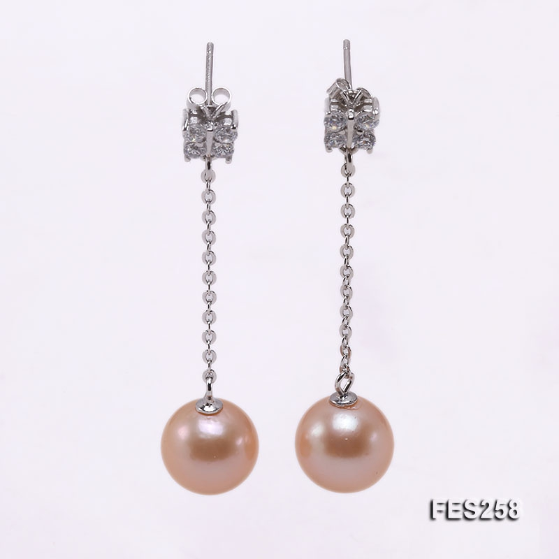 11mm Pink Round Freshwater Pearl Dangling Earrings