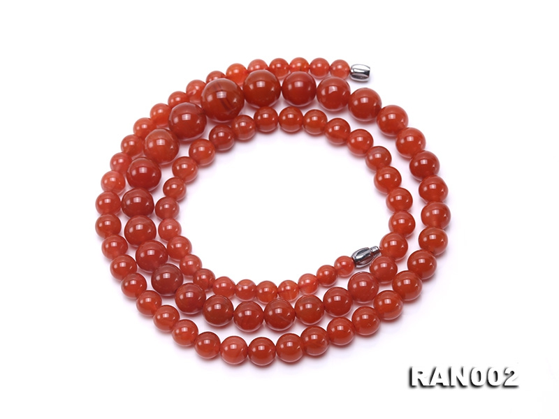 Natural 5.5-12.5mm Round Nanhong Agate Graduated Necklace