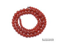 Natural 5.5-13mm Round Nanhong Agate Graduated Necklace