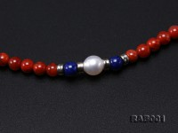 High Quality 5.5-6mm Nanhong Agate Bracelet with Lapis and Freshwater Pearls