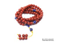 8-8.5mm Nanhong Agate Bracelet with 8-10mm Lapis and 925 Sterling Silver Accessories