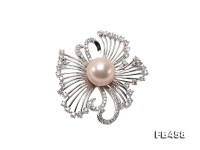 13mm Lavender Round Edison Pearl Brooch/Pendant with Zircons