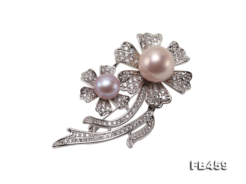 9-13.5mm Lavender Round Edison Pearl Brooch/Pendant with Zircons
