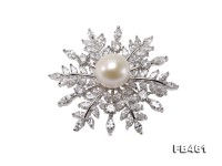 Lustrous 13mm White Round Edison Pearl Brooch/Pendant