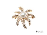 Lustrous 12.5mm White Round Edison Pearl Brooch/Pendant