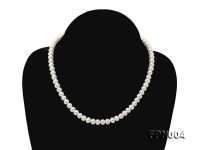 6-6.5mm White Flatly Round Freshwater Cultured Pearl Necklace
