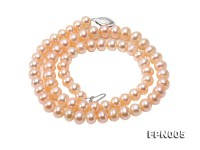 6-6.5mm Pink Flatly Round Cultured Freshwater Pearl Necklace