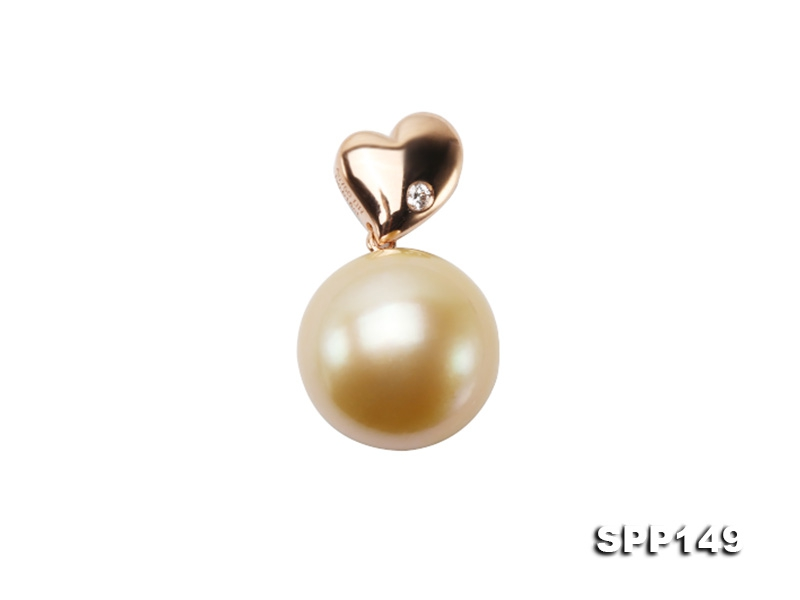 Exquisitely Beautiful 12mm Golden South Sea Pearl Pendant in 14k Gold
