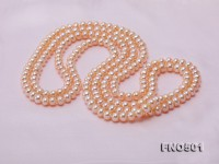 Classic 6-7mm Pink Flatly Round Freshwater Pearl Long Necklace