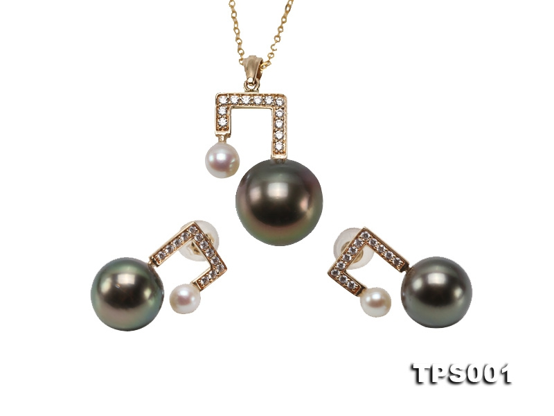 Mysterious 9.5/10mm Tahitian Pearl Pendant and Earring Set
